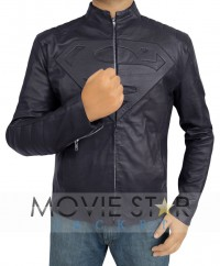 Smallville Black Superman Leather Jacket