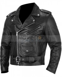 Black Belted Adjustment Motorcycle Leather Jacket