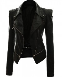 Alabama Women Black Leather Slimfit Jacket