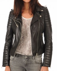 Hipster Girl Black Motorcycle Leather Jacket