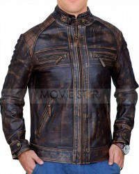 cafe racer biker rub off brown leather jacket