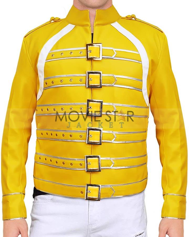 New Men/'s Freddie Mercury Wembley Concert Yellow Biker Jacket Faux Leather Coat