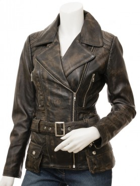 Womens Vintage Distressed Leather Jacket