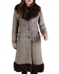 Premium Vintage Grey Sheepskin Shearling Coat