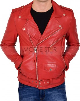mens motorcycle style red leather jacket
