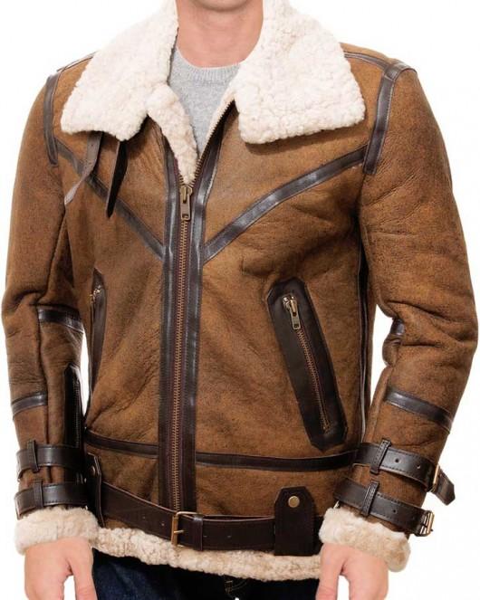 mens tan sheepskin leather jacket