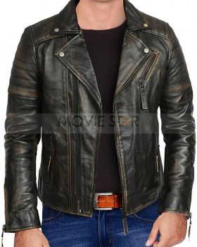 vintage motorcycle distressed mens leather jacket