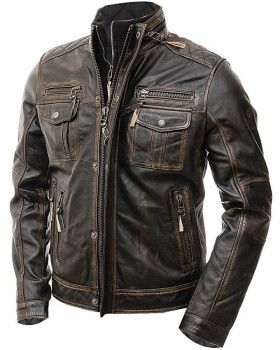Vintage Distressed Brown Real Leather Jacket