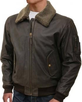 Flight Brown Bomber Leather Jacket For Men