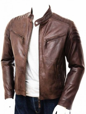 Vintage Mens Biker Brown Leather Jacket