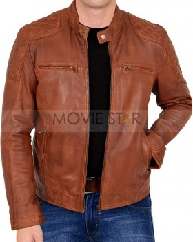 cafe racer brown leather jacket