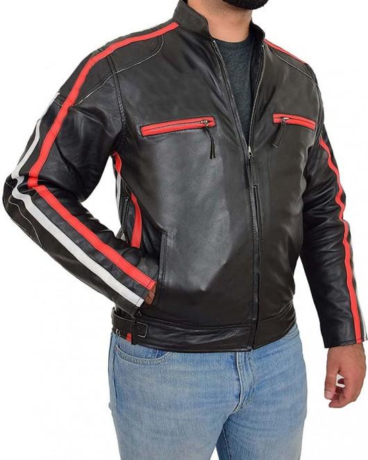 Mens Black Motorcycle Racing Biker Leather Jacket