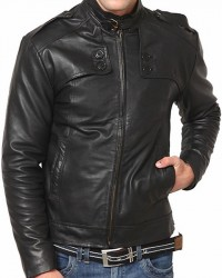 Belted Collar Men Black Fashion Leather Jacket