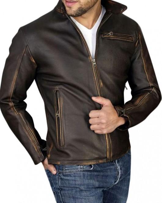 vintage mens distressed genuine leather jacket