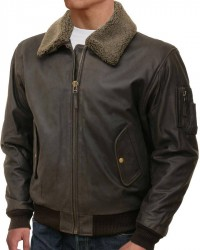 Flight Brown Bomber Leather Jacket For Men