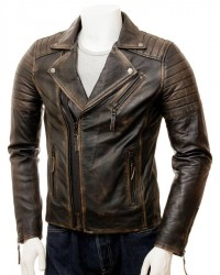 Distressed Brown Motorcycle Leather Jacket