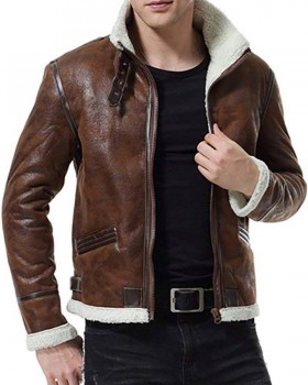brown leather jacket with inside fur lining