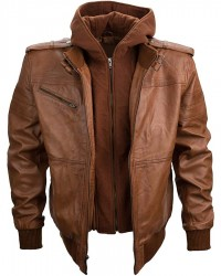 Mens Brown Hooded Leather Jacket