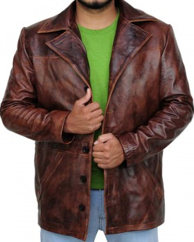 Vintage Brown Leather Coat With Lapel Collar