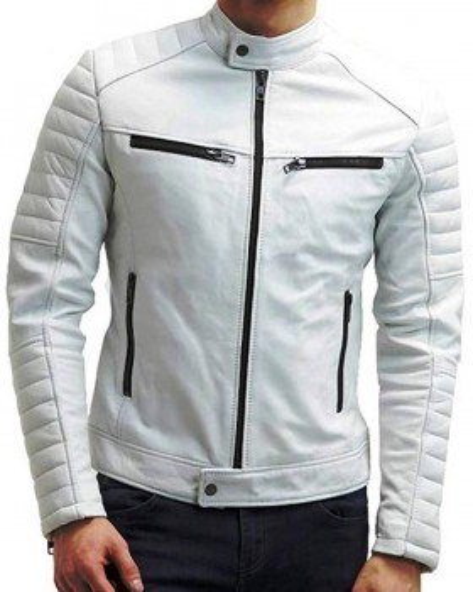 Men's White Lambskin Leather Cafe Racer Jacket
