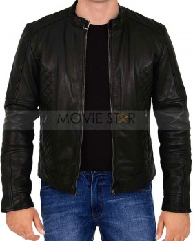 mens casual biker leather jacket