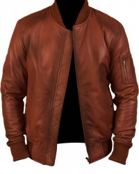 Brown Bomber Waxed Real Leather Jacket