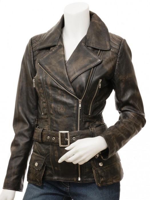 Womens Vintage Distressed Leather Jacket