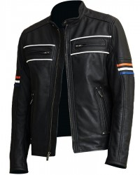 Cafe Racer Vintage Retro Black Biker Leather Jacket