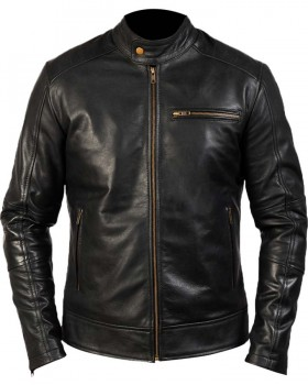 Vintage Black Retro Motorcycle Leather Jacket