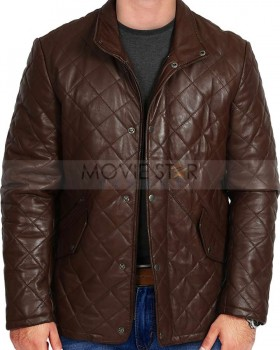 mens diamond quilted real leather coat