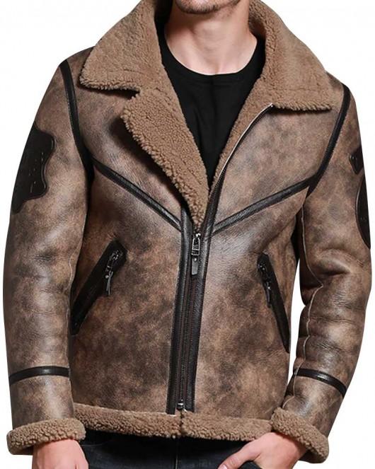 Jungle Brown Shearling Men Winter Warm Sheepskin Jacket