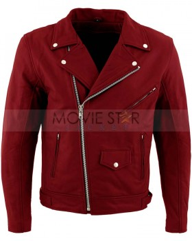 Red Retro Boys Real Leather Jacket