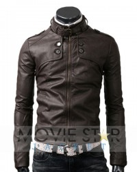 Button Pocket Dark Brown Real Leather Jacket