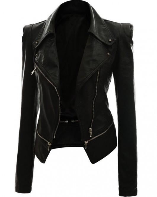 Alabama Women Black Leather Slimfit Jacket