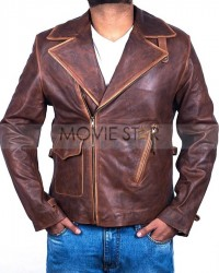 Captain America The First Avengers Distressed Brown Real Leather Jacket