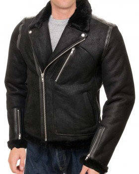 Black Biker Mens Shearling Lining Jacket