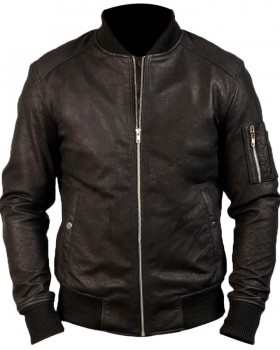 Distressed Black Bomber Real Leather Jacket