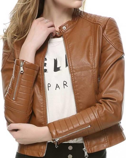 Slim Fit Brown Women Biker Leather Jacket