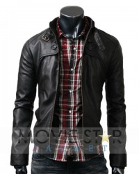 Button Pocket Black Real Leather Jacket