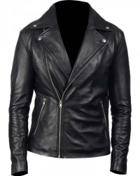 Black Mens Lambskin Leather Motorcycle Jacket