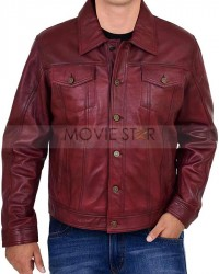 mens burgundy rider leather jacket