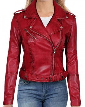 Distressed Red Women Motorcycle Leather Jacket