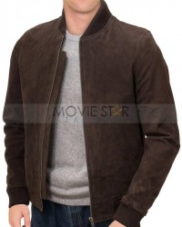 Brown Suede Leather Bomber Jacket