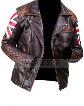 Cafe Racer Embossed Skull Biker Vintage UK Flag Leather Jacket