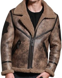 Jungle Brown Shearling Men Winter Warm Sheepskin Jacket