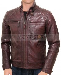 vintage burgundy leather jacket mens