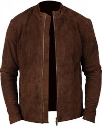 Mens Fashion Brown Real Suede Leather Jacket