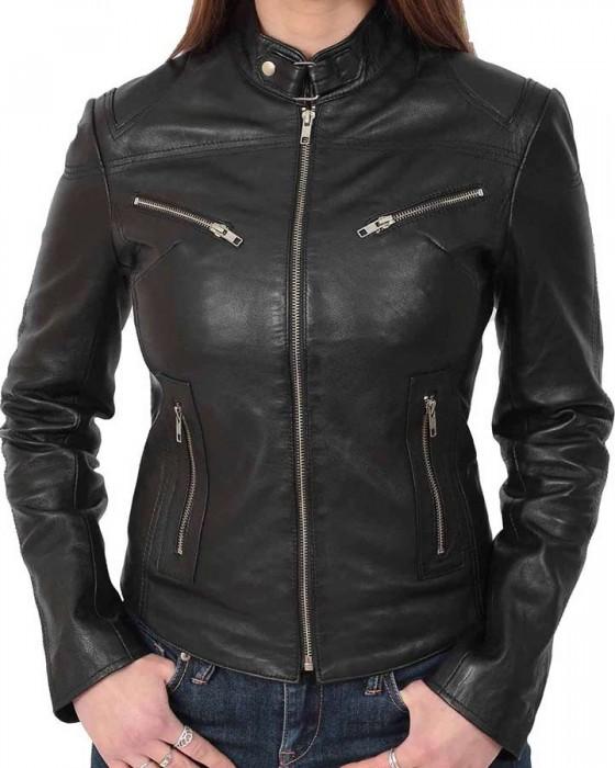 womens leather casual black biker jacket