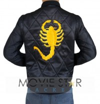 Ryan Gosling Drive Black Jacket With Golden Scorpion