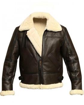 Men B3 Genuine Shearling Leather Bomber Jacket